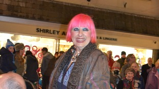 Dame Zandra wore a pink wig to help promote Breast Cancer awareness