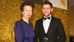 Adam Woods with Princess Anne, who presented him with the award