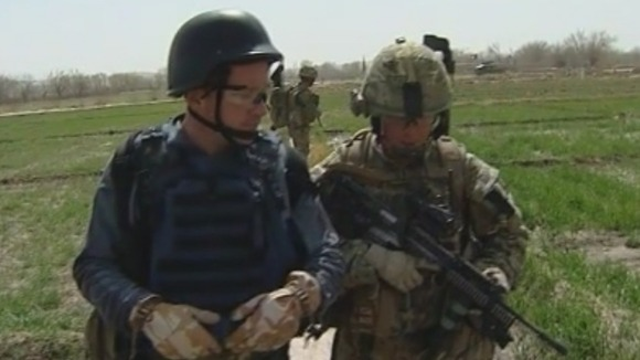Martin Geissler with British troops in Helmand