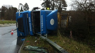 The lorry that crashed on the A11 in Norfolk