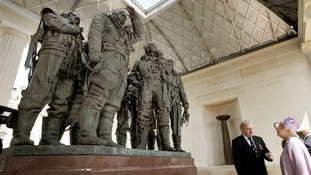 Queen Elizabeth II unveils the Bomber Command Memorial in Green Park, London