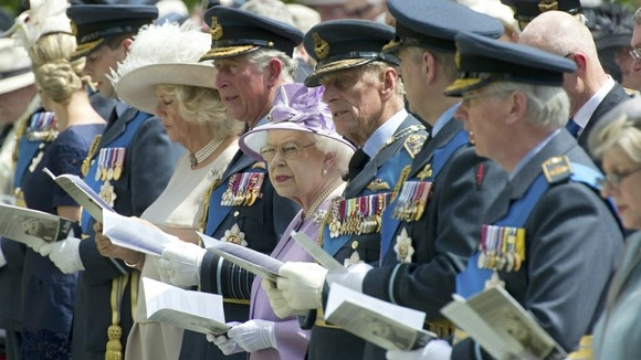 Britain's Queen Elizabeth attends the unveiling of the memorial to Bomber Command in Green Park, with the Duke of Edinburgh