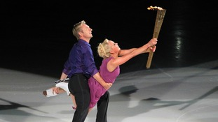 The pair performed a spectacular three-minute routine with the lit torch