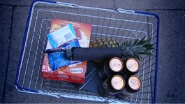A basket of shopping items.