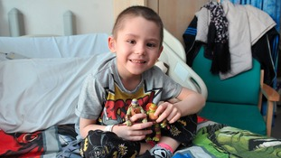 Harley with his toys at hospital.