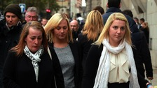 Lee Rigby's fiancée Aimee West (far right) with his mother, Lyn Rigby, and sister Sara McClure