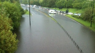 Newcastle's Central Motorway under water