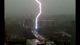 Lightening striking Tyne Bridge