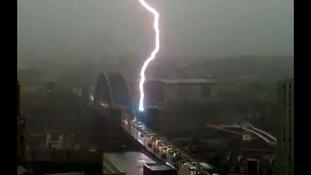 Lightening striking Tyne Bridge