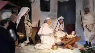 Nativity scene of the birth of Jesus.