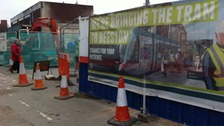 Continuing tram works in Beeston