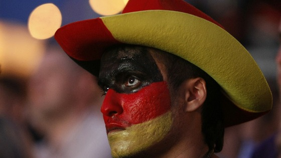 A German fan watches his side crash out of the Euro 2012 Championships 