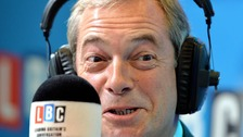 Nigel Farage appearing on LBC.