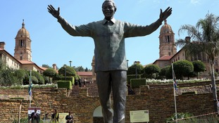 Nelson Mandela's widow gave a speech and laid wreaths during a commemoration ceremony at her late husband's statue at the Union Buildings in Pretoria.