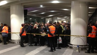 Crowd control measures at Birmingham New Street in 2013