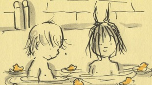 A sketch of the children in the bath
