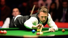 Bristol's Judd Trump lines up a shot in the UK Snooker Championship