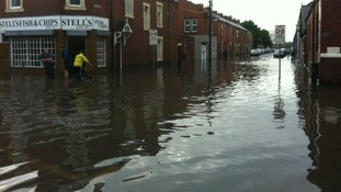 Seaton Delaval: Businesses clean up after flooding.