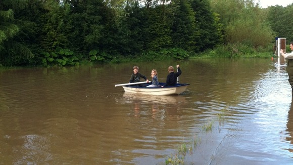 Rowing across the garden