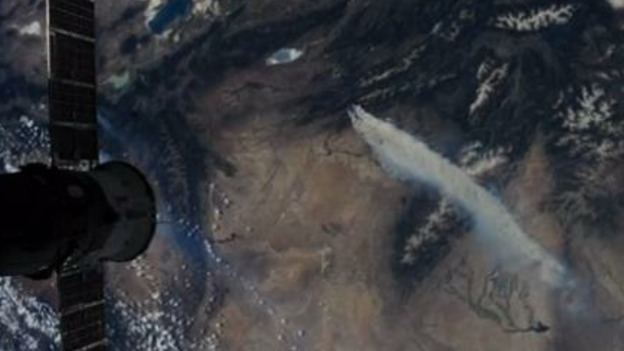 A video camera aboard the International Space Station captured this footage of the wildfires burning in the Western US