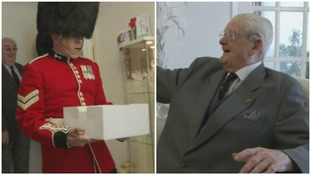 Watch the moment a 100-year-old veteran gets a surprise birthday visit from the Welsh Guards