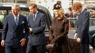 The Prince of Wales, Prince William, the Duchess of Cornwall and Prince Harry at Westminster Abbey