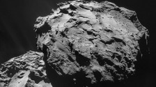 An image of comet 67P, made up of four photographs, taken by the Rosetta spacecraft.