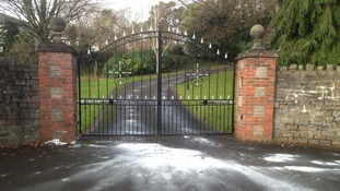 The driveway of Shrien Dewani's home in Bristol has been covered in white paint