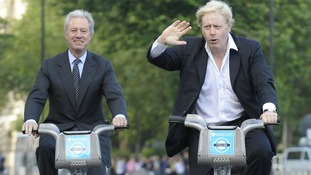 Boris Johnson and Barclays chairman Marcus Agius pictured at the launch of the Barclays Cycle Hire Scheme