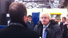 Boris Johnson arriving at Bombardier