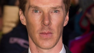 Benedict Cumberbatch arriving at The Hobbit: