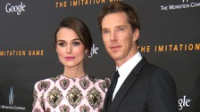Keira Knightley pictured with another Golden Globe nominee, Benedict Cumberbatch.