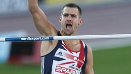 Robbie Grabarz reacts after an attempt in the Men's High Jump final at the European Athletics Championships in Finland