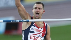 Robbie Grabarz reacts after an attempt in the Men&#x27;s High Jump final at the European Athletics Championships in Finland