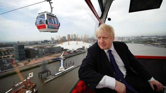 Boris Johnson takes a ride on the new Emirates Air Line