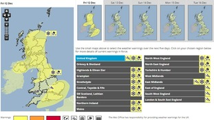 Yellow warning for high winds snow and ice.