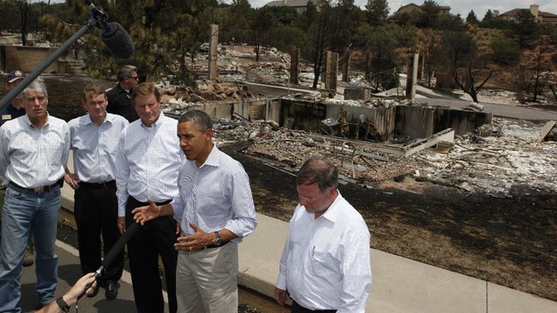 U.S. President Barack Obama during his visit to fire damaged homes in Colorado
