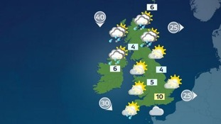 Wintry showers will move across Scotland and Northern Ireland, with a few light showers in Devon and Cornwall.