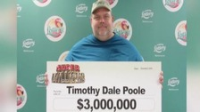 Convicted paedophile Timothy Dale Poole wins $3million lottery jackpot.