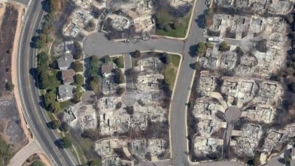 The same image after the wildfires. Dozens of homes gutted