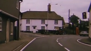 An old section of the A11 through the village of Littlebury in Essex in the 1970s.
