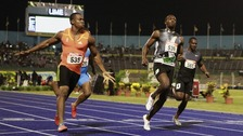 Yohan Blake beats Usain Bolt in the 100m final at the Jamaican National Championships and Olympic trials