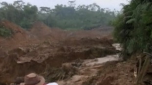 About 100 houses were swept away in Java.