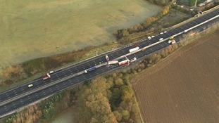 Aerial view of crash on M25