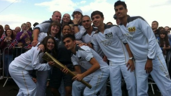 The Wanted with the Olympic Torch in Great Wyrley