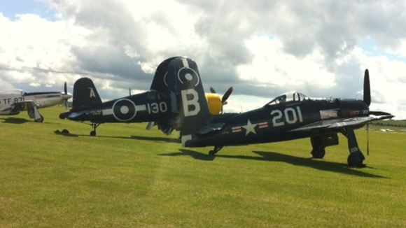 Planes line up at the Flying Legends Air Show