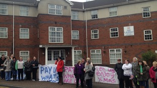 Rhondda care home workers protest for pay