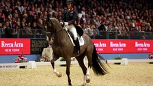 Charlotte Dujardin riding Valegro competes in the Reem Acra FEI World Cup Dressage grand prix