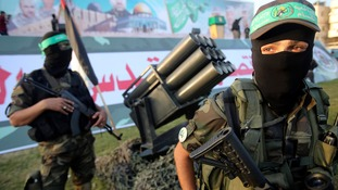 Palestinian members of Hamas's armed wing taking part in an anti-Israel rally in Rafah in the southern Gaza Strip last month.