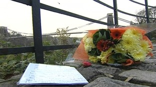 Flowers left near to where the bodies of Charlotte Bevan and her daughter Zaani Tiana were found.